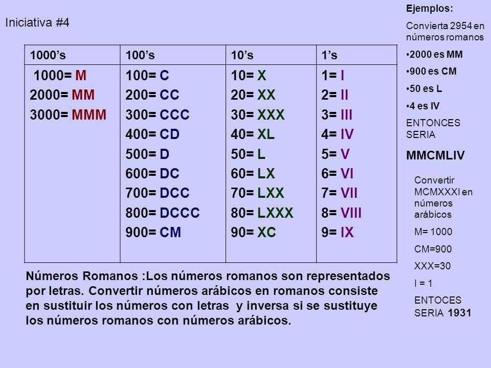 Números Romanos :Los números romanos son representados por letras. Convertir números arábicos en romanos consiste en sustituir los números con letras