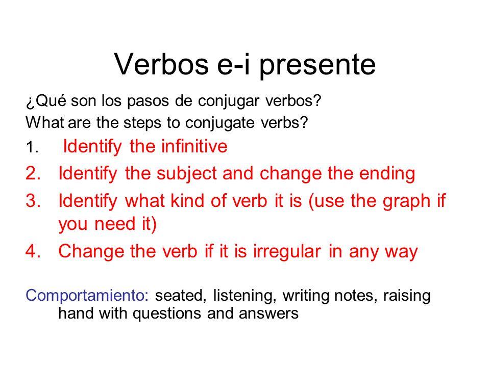Verbos e-i presente ¿Qué son los pasos de conjugar verbos? What are the steps to conjugate verbs? 1. Identify the infinitive 2.Identify the subject an