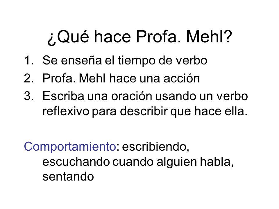 ¿Qué hace Profa. Mehl? 1.Se enseña el tiempo de verbo 2.Profa. Mehl hace una acción 3.Escriba una oración usando un verbo reflexivo para describir que