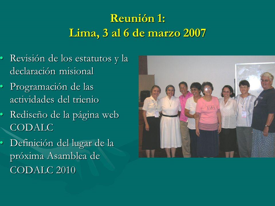 Reunión 1: Lima, 3 al 6 de marzo 2007 Revisión de los estatutos y la declaración misionalRevisión de los estatutos y la declaración misional Programación de las actividades del trienioProgramación de las actividades del trienio Rediseño de la página web CODALCRediseño de la página web CODALC Definición del lugar de la próxima Asamblea de CODALC 2010Definición del lugar de la próxima Asamblea de CODALC 2010