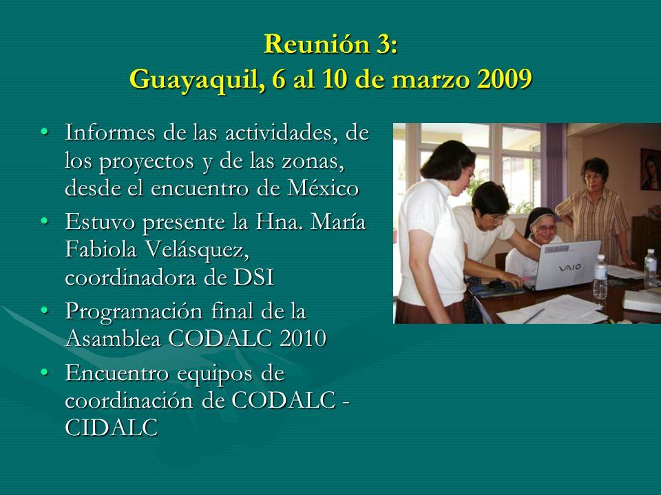 Reunión 3: Guayaquil, 6 al 10 de marzo 2009 Informes de las actividades, de los proyectos y de las zonas, desde el encuentro de MéxicoInformes de las actividades, de los proyectos y de las zonas, desde el encuentro de México Estuvo presente la Hna.