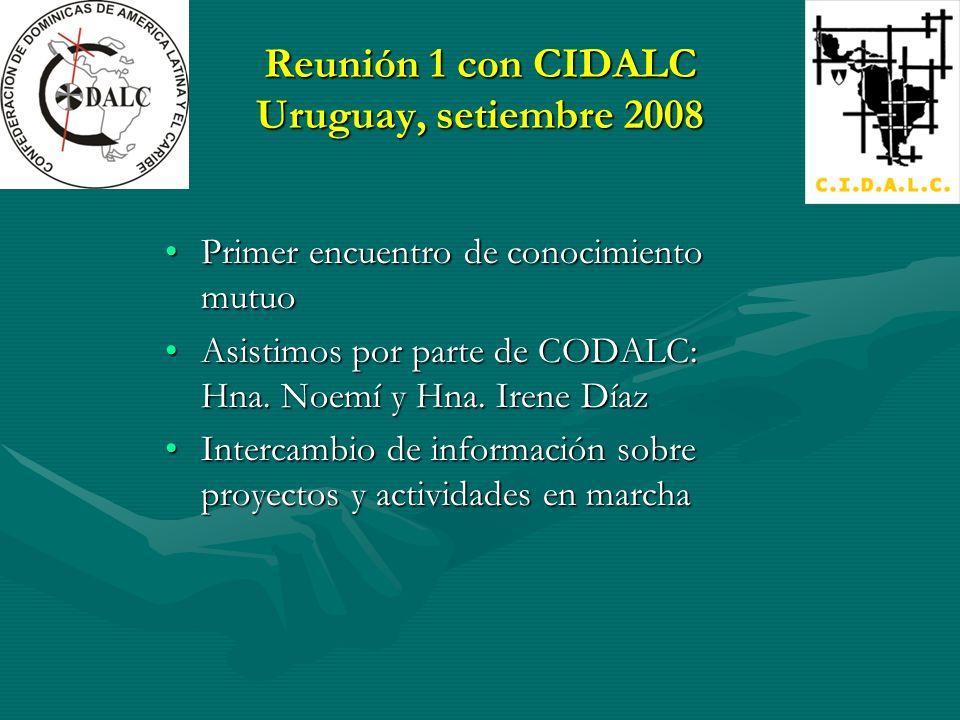 Reunión 1 con CIDALC Uruguay, setiembre 2008 Primer encuentro de conocimiento mutuoPrimer encuentro de conocimiento mutuo Asistimos por parte de CODALC: Hna.
