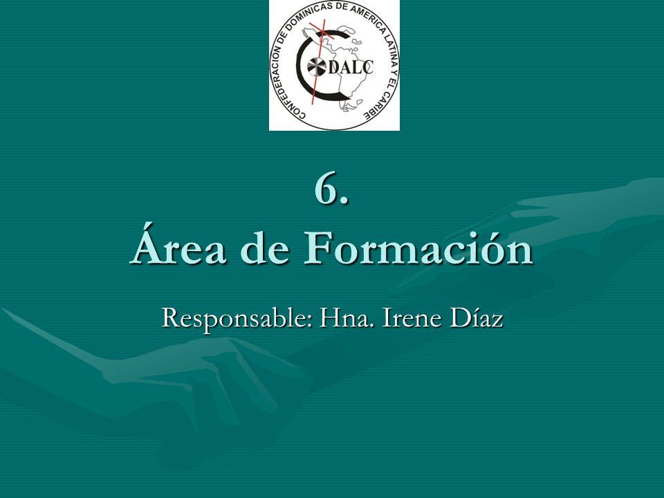 6. Área de Formación Responsable: Hna. Irene Díaz