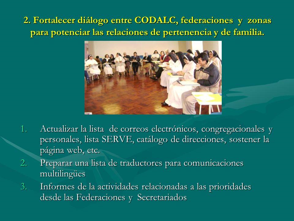 2. Fortalecer diálogo entre CODALC, federaciones y zonas para potenciar las relaciones de pertenencia y de familia. 1.Actualizar la lista de correos e