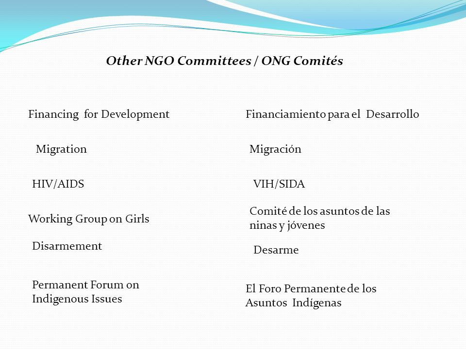 Other NGO Committees / ONG Comités Financing for DevelopmentFinanciamiento para el Desarrollo MigrationMigración HIV/AIDSVIH/SIDA Working Group on Girls Comité de los asuntos de las ninas y jóvenes Disarmement Desarme Permanent Forum on Indigenous Issues El Foro Permanente de los Asuntos Indígenas