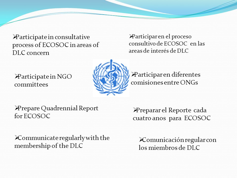 Participate in consultative process of ECOSOC in areas of DLC concern Participar en el proceso consultivo de ECOSOC en las areas de interés de DLC Participate in NGO committees Participar en diferentes comisiones entre ONGs Prepare Quadrennial Report for ECOSOC Preparar el Reporte cada cuatro anos para ECOSOC Communicate regularly with the membership of the DLC Comunicación regular con los miembros de DLC