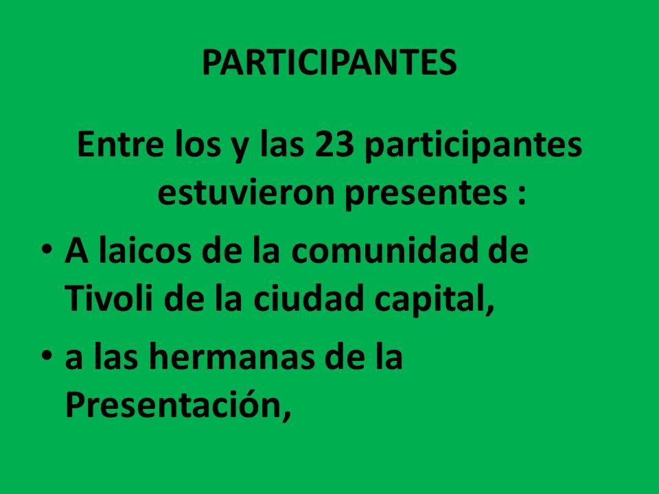 PARTICIPANTES Entre los y las 23 participantes estuvieron presentes : A laicos de la comunidad de Tivoli de la ciudad capital, a las hermanas de la Pr