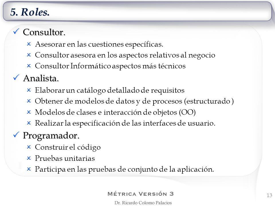 5. Roles. 13 Consultor. Consultor. Asesorar en las cuestiones específicas. Consultor asesora en los aspectos relativos al negocio Consultor Informátic