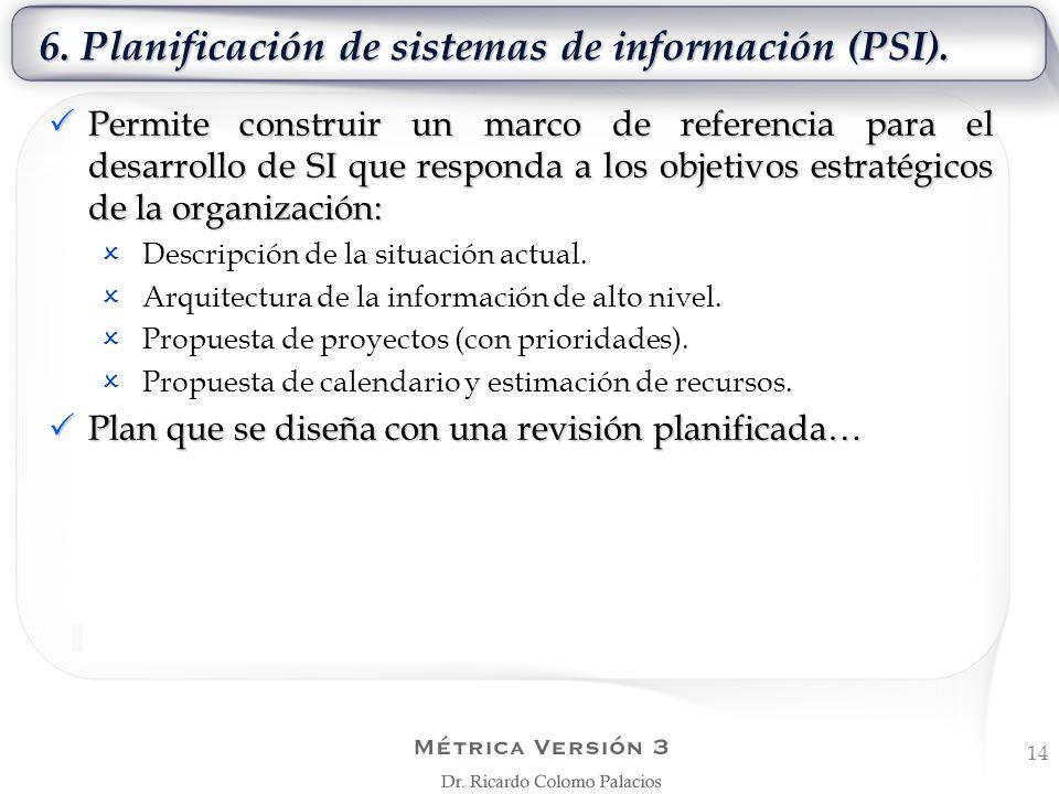 6. Planificación de sistemas de información (PSI). 14 Permite construir un marco de referencia para el desarrollo de SI que responda a los objetivos e