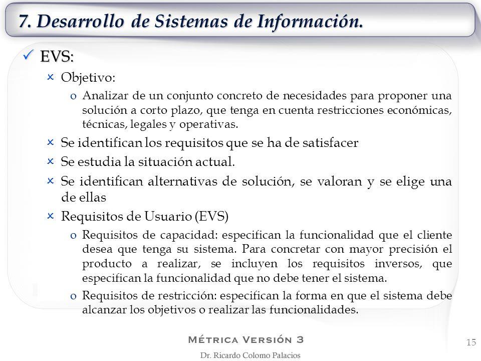 7. Desarrollo de Sistemas de Información. 15 EVS: EVS: Objetivo: oAnalizar de un conjunto concreto de necesidades para proponer una solución a corto p