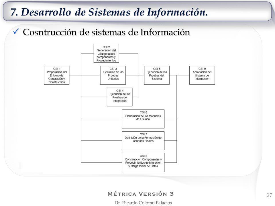 7. Desarrollo de Sistemas de Información. Cosntrucción de sistemas de Información Cosntrucción de sistemas de Información 27
