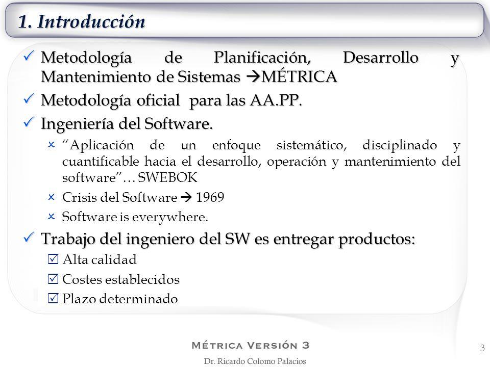 1. Introducción Metodología de Planificación, Desarrollo y Mantenimiento de Sistemas MÉTRICA Metodología de Planificación, Desarrollo y Mantenimiento