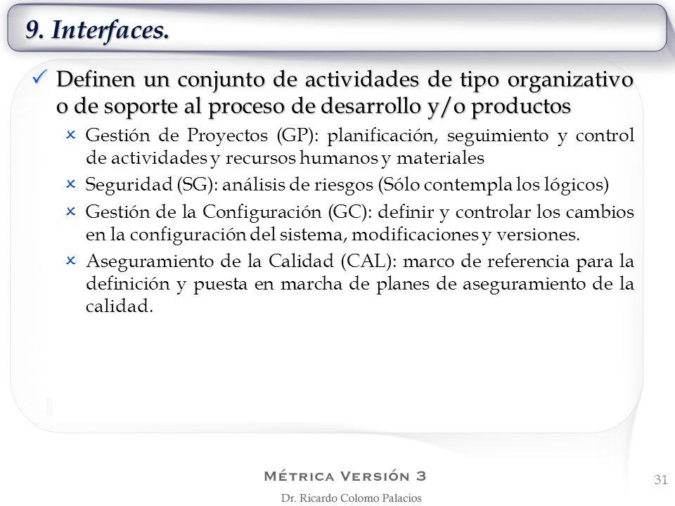 9. Interfaces. 31 Definen un conjunto de actividades de tipo organizativo o de soporte al proceso de desarrollo y/o productos Definen un conjunto de a