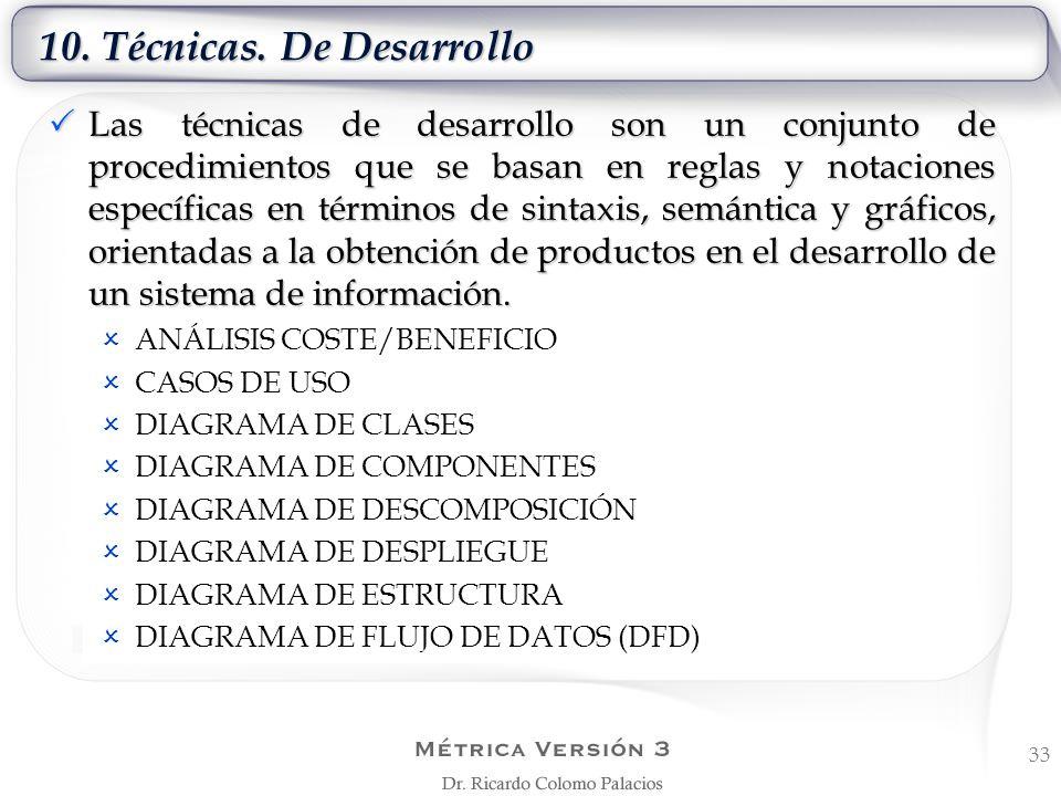 10. Técnicas. De Desarrollo Las técnicas de desarrollo son un conjunto de procedimientos que se basan en reglas y notaciones específicas en términos d