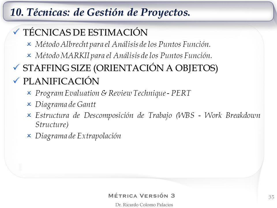 10. Técnicas: de Gestión de Proyectos. 35 TÉCNICAS DE ESTIMACIÓN TÉCNICAS DE ESTIMACIÓN Método Albrecht para el Análisis de los Puntos Función. Método
