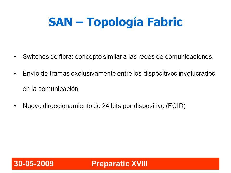 30-05-2009 Preparatic XVIII SAN – Topología Fabric Switches de fibra: concepto similar a las redes de comunicaciones. Envío de tramas exclusivamente e