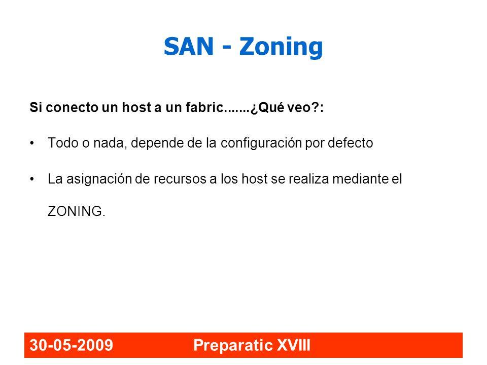 30-05-2009 Preparatic XVIII SAN - Zoning Si conecto un host a un fabric.......¿Qué veo?: Todo o nada, depende de la configuración por defecto La asign