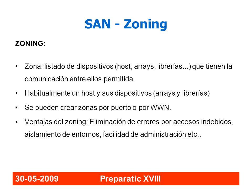 30-05-2009 Preparatic XVIII SAN - Zoning ZONING: Zona: listado de dispositivos (host, arrays, librerías...) que tienen la comunicación entre ellos per