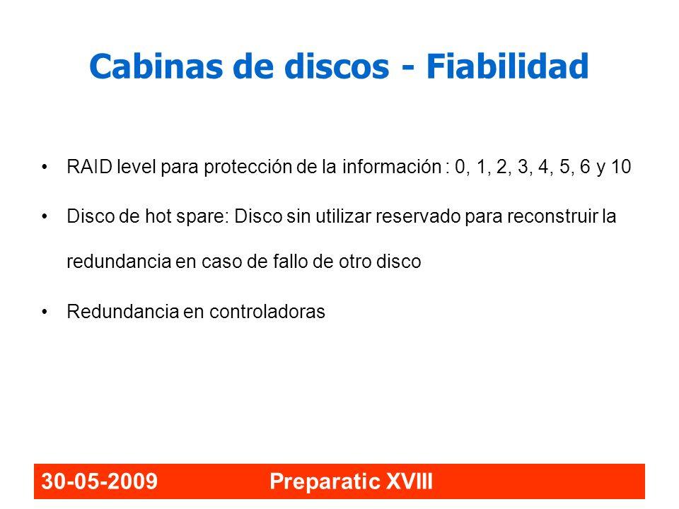 30-05-2009 Preparatic XVIII RAID level para protección de la información : 0, 1, 2, 3, 4, 5, 6 y 10 Disco de hot spare: Disco sin utilizar reservado p