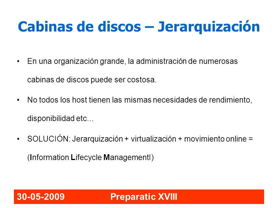 30-05-2009 Preparatic XVIII Cabinas de discos – Jerarquización En una organización grande, la administración de numerosas cabinas de discos puede ser