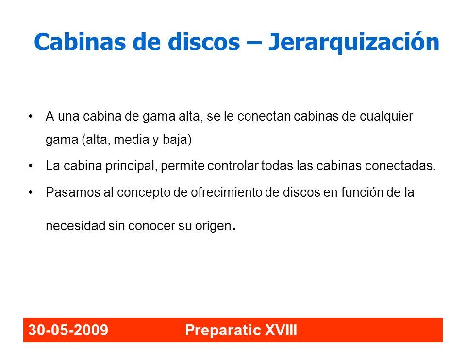 30-05-2009 Preparatic XVIII Cabinas de discos – Jerarquización A una cabina de gama alta, se le conectan cabinas de cualquier gama (alta, media y baja