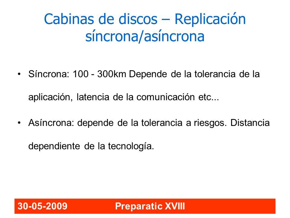 30-05-2009 Preparatic XVIII Cabinas de discos – Replicación síncrona/asíncrona Síncrona: 100 - 300km Depende de la tolerancia de la aplicación, latenc