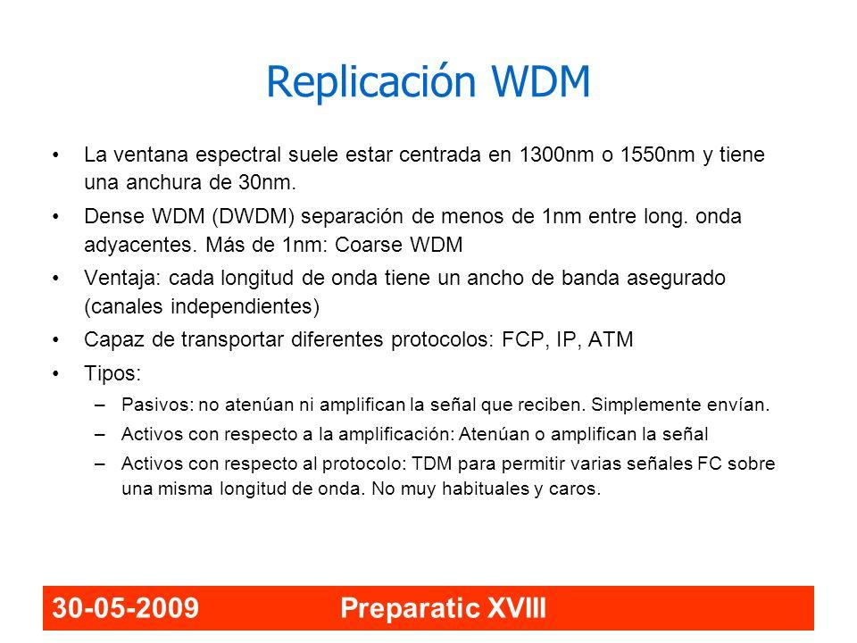 30-05-2009 Preparatic XVIII La ventana espectral suele estar centrada en 1300nm o 1550nm y tiene una anchura de 30nm. Dense WDM (DWDM) separación de m