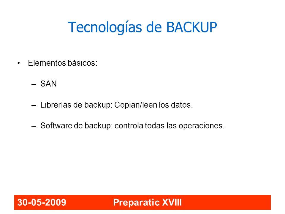 30-05-2009 Preparatic XVIII Tecnologías de BACKUP Elementos básicos: –SAN –Librerías de backup: Copian/leen los datos. –Software de backup: controla t