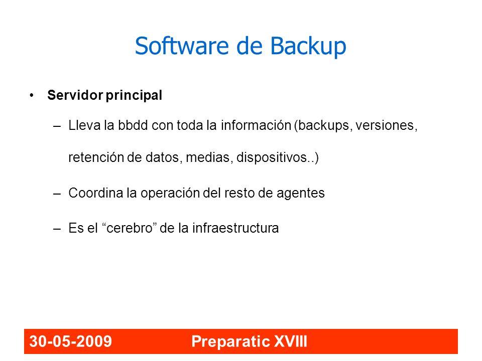 30-05-2009 Preparatic XVIII Software de Backup Servidor principal –Lleva la bbdd con toda la información (backups, versiones, retención de datos, medi