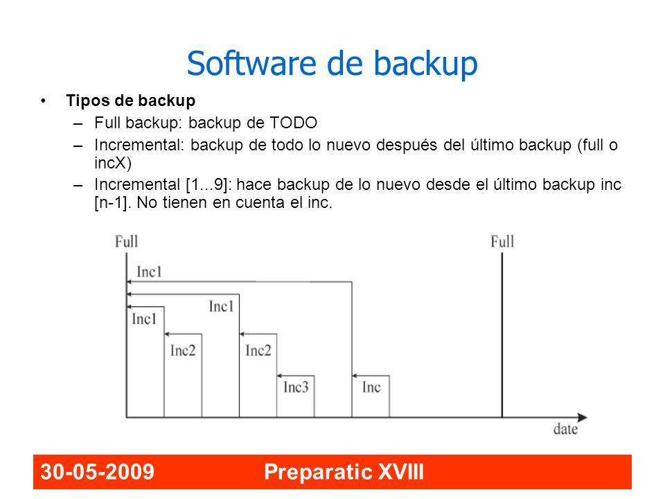 30-05-2009 Preparatic XVIII Software de backup Tipos de backup –Full backup: backup de TODO –Incremental: backup de todo lo nuevo después del último b