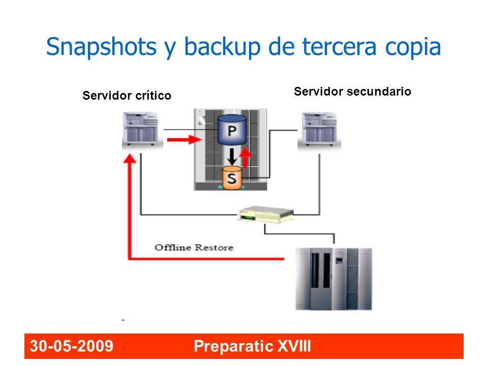 30-05-2009 Preparatic XVIII Snapshots y backup de tercera copia Servidor crítico Servidor secundario