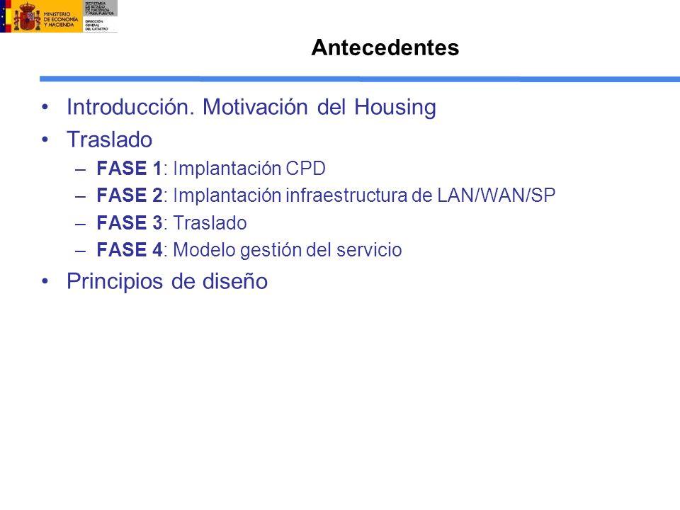 Antecedentes Introducción. Motivación del Housing Traslado –FASE 1: Implantación CPD –FASE 2: Implantación infraestructura de LAN/WAN/SP –FASE 3: Tras