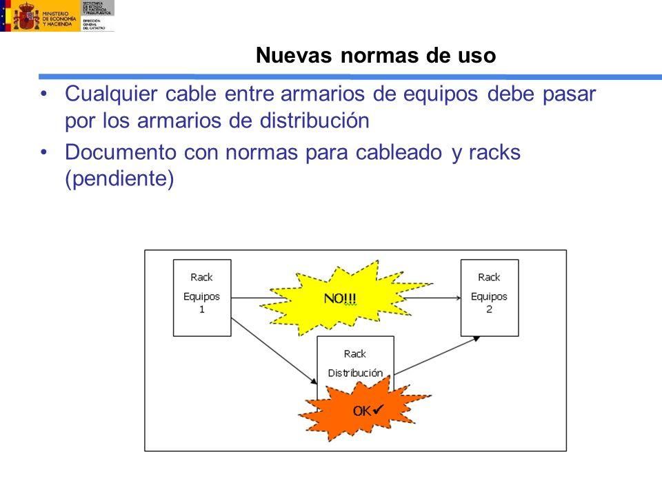 Nuevas normas de uso Cualquier cable entre armarios de equipos debe pasar por los armarios de distribución Documento con normas para cableado y racks (pendiente)