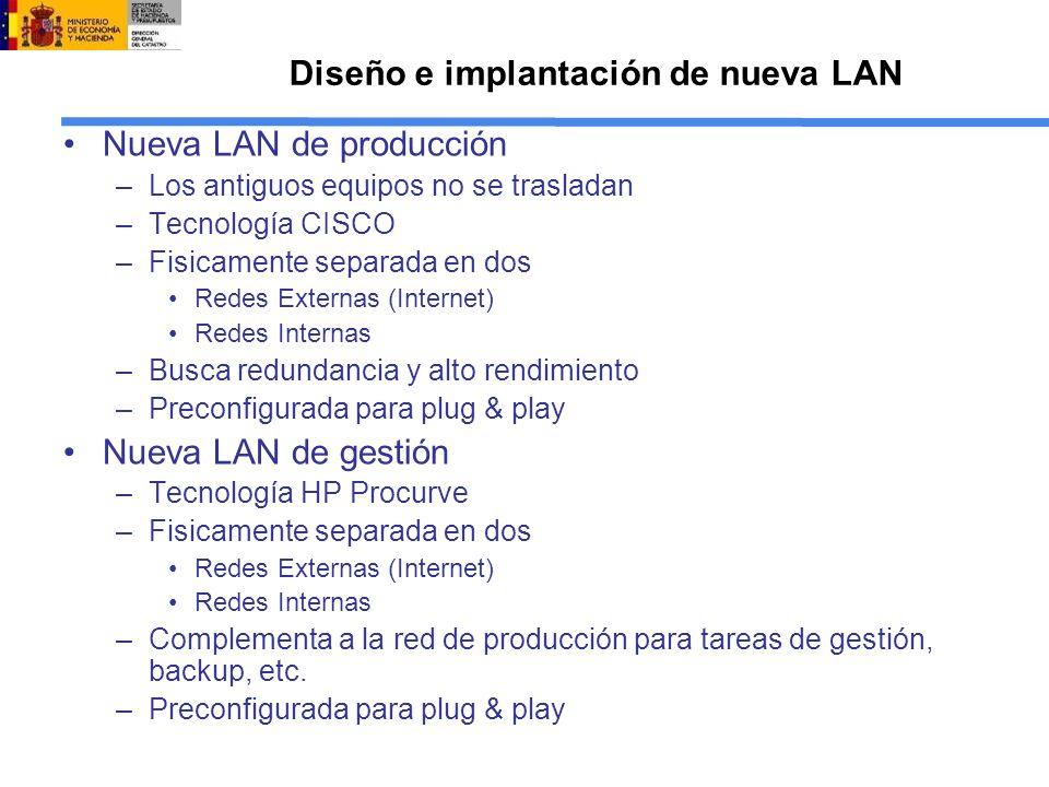 Diseño e implantación de nueva LAN Nueva LAN de producción –Los antiguos equipos no se trasladan –Tecnología CISCO –Fisicamente separada en dos Redes Externas (Internet) Redes Internas –Busca redundancia y alto rendimiento –Preconfigurada para plug & play Nueva LAN de gestión –Tecnología HP Procurve –Fisicamente separada en dos Redes Externas (Internet) Redes Internas –Complementa a la red de producción para tareas de gestión, backup, etc.