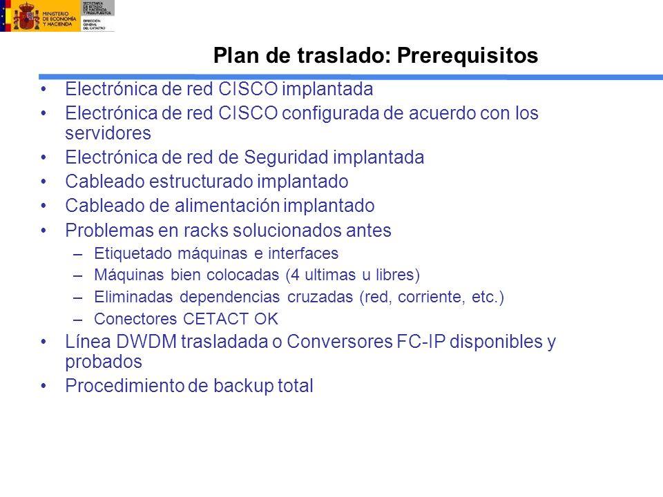 Plan de traslado: Prerequisitos Electrónica de red CISCO implantada Electrónica de red CISCO configurada de acuerdo con los servidores Electrónica de