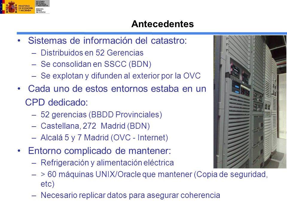 Antecedentes Sistemas de información del catastro: –Distribuidos en 52 Gerencias –Se consolidan en SSCC (BDN) –Se explotan y difunden al exterior por la OVC Cada uno de estos entornos estaba en un CPD dedicado: –52 gerencias (BBDD Provinciales) –Castellana, 272 Madrid (BDN) –Alcalá 5 y 7 Madrid (OVC - Internet) Entorno complicado de mantener: –Refrigeración y alimentación eléctrica –> 60 máquinas UNIX/Oracle que mantener (Copia de seguridad, etc) –Necesario replicar datos para asegurar coherencia