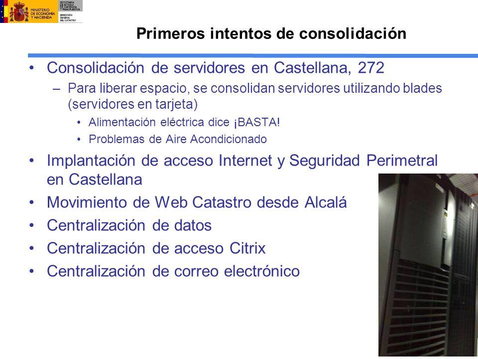 Primeros intentos de consolidación Consolidación de servidores en Castellana, 272 –Para liberar espacio, se consolidan servidores utilizando blades (servidores en tarjeta) Alimentación eléctrica dice ¡BASTA.