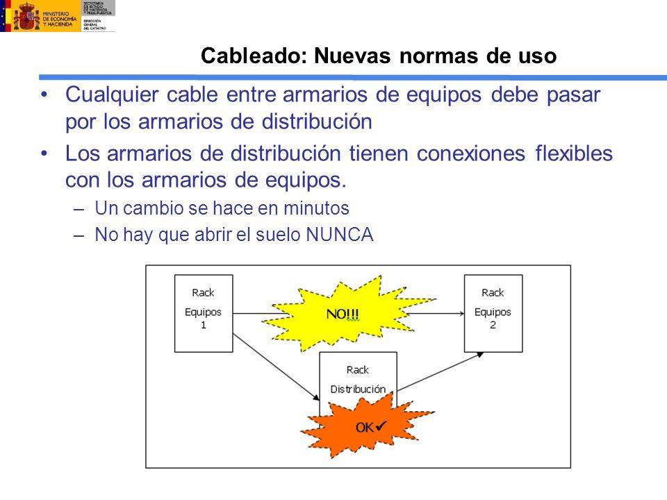 Cableado: Nuevas normas de uso Cualquier cable entre armarios de equipos debe pasar por los armarios de distribución Los armarios de distribución tienen conexiones flexibles con los armarios de equipos.