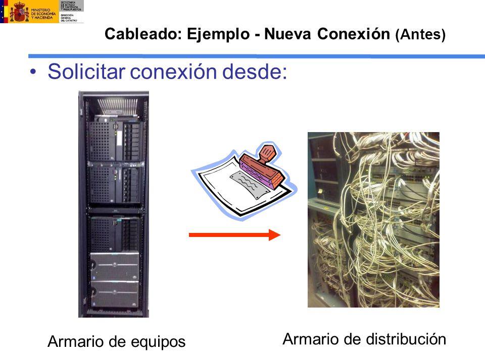 Cableado: Ejemplo - Nueva Conexión (Antes) Solicitar conexión desde: Armario de equipos Armario de distribución