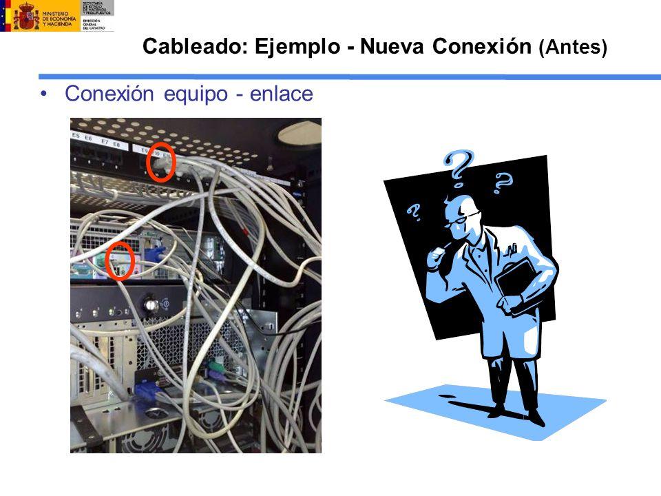 Cableado: Ejemplo - Nueva Conexión (Antes) Conexión equipo - enlace
