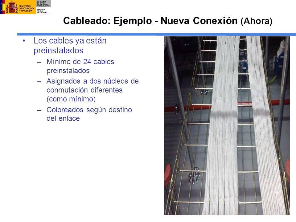 Cableado: Ejemplo - Nueva Conexión (Ahora) Los cables ya están preinstalados –Mínimo de 24 cables preinstalados –Asignados a dos núcleos de conmutación diferentes (como mínimo) –Coloreados según destino del enlace