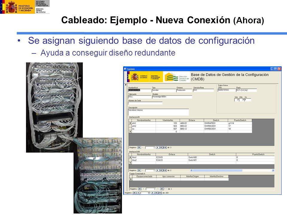 Cableado: Ejemplo - Nueva Conexión (Ahora) Se asignan siguiendo base de datos de configuración –Ayuda a conseguir diseño redundante