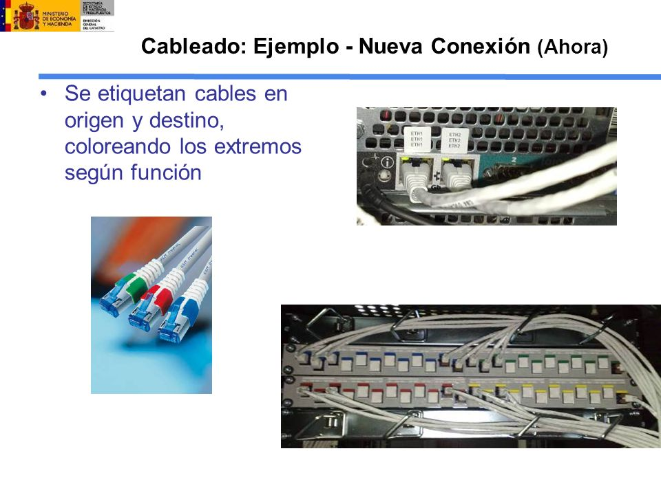 Cableado: Ejemplo - Nueva Conexión (Ahora) Se etiquetan cables en origen y destino, coloreando los extremos según función