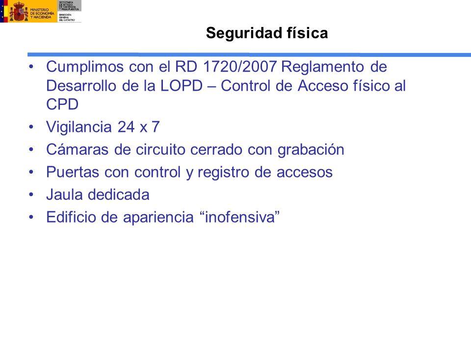 Seguridad física Cumplimos con el RD 1720/2007 Reglamento de Desarrollo de la LOPD – Control de Acceso físico al CPD Vigilancia 24 x 7 Cámaras de circ
