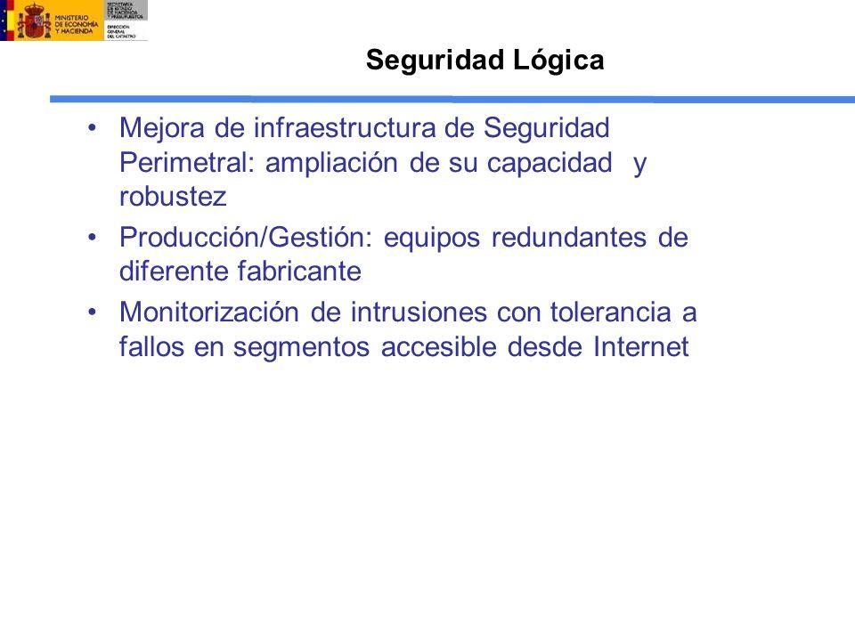 Seguridad Lógica Mejora de infraestructura de Seguridad Perimetral: ampliación de su capacidad y robustez Producción/Gestión: equipos redundantes de d