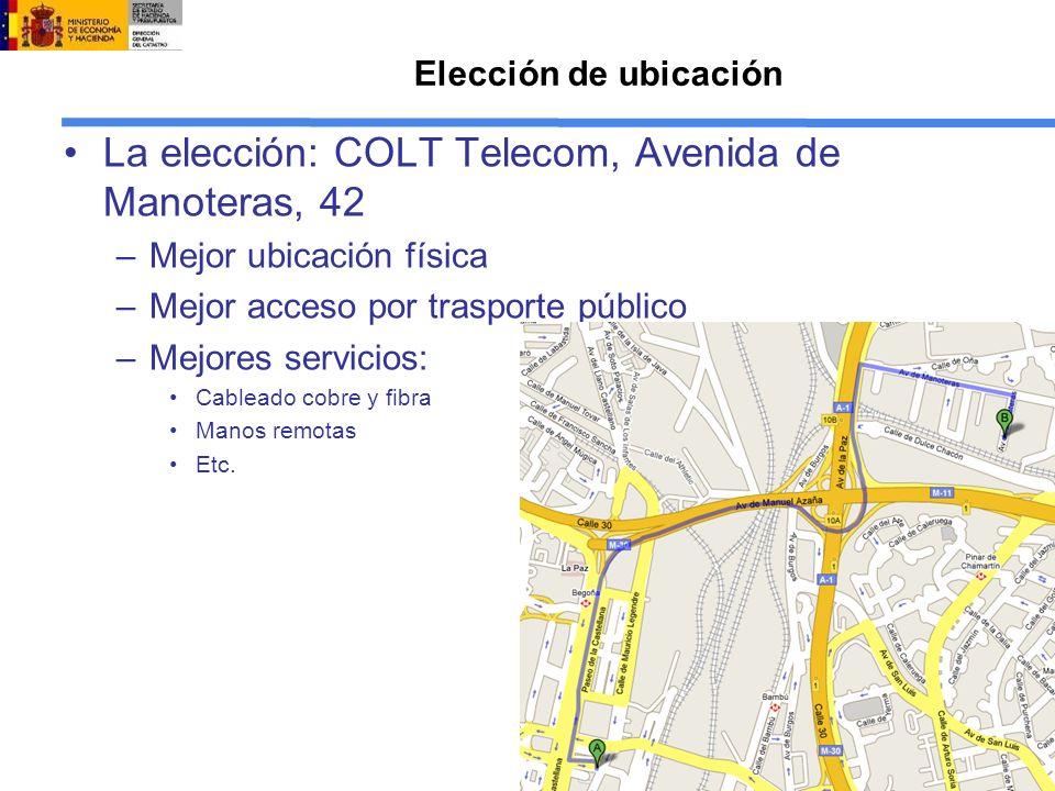Elección de ubicación La elección: COLT Telecom, Avenida de Manoteras, 42 –Mejor ubicación física –Mejor acceso por trasporte público –Mejores servicios: Cableado cobre y fibra Manos remotas Etc.