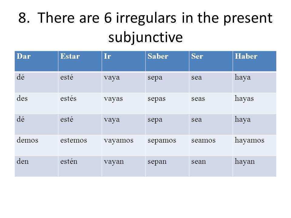 8. There are 6 irregulars in the present subjunctive DarEstarIrSaberSerHaber déestévayasepaseahaya desestésvayassepasseashayas déestévayasepaseahaya d