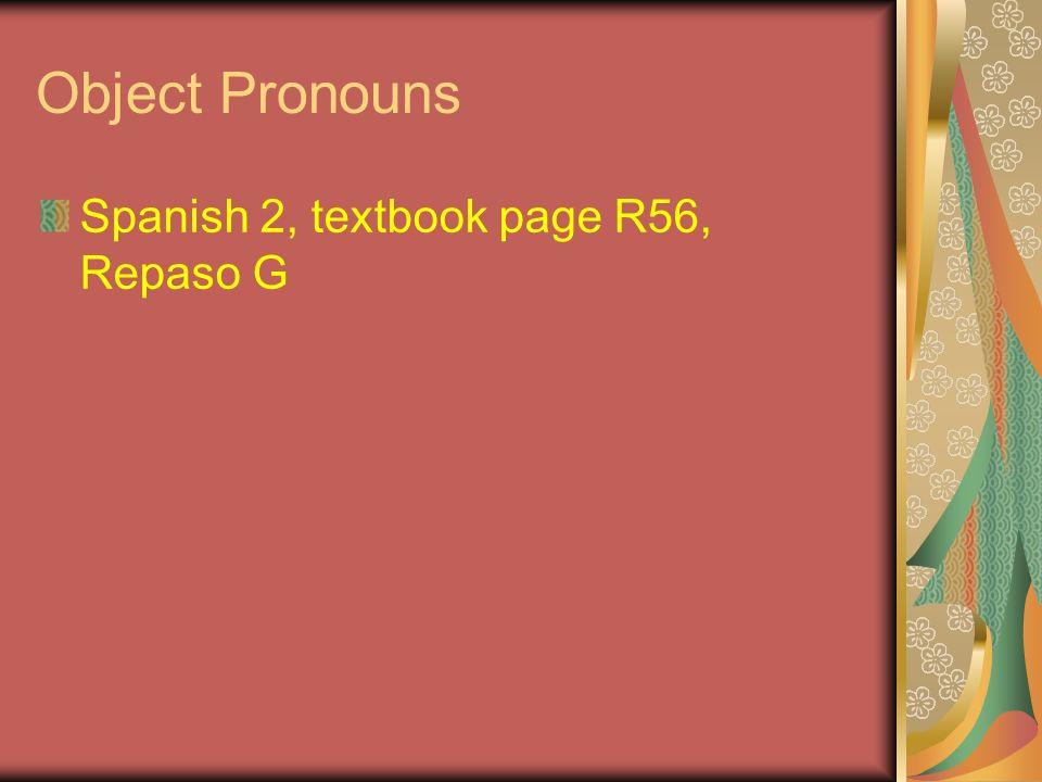 The object pronouns are: IndirectDirect Yomeme Tútete Éllelo Ellalela Udlelo/la Nosotrosnosnos Ellosleslos Ellasleslas Udsleslos/las