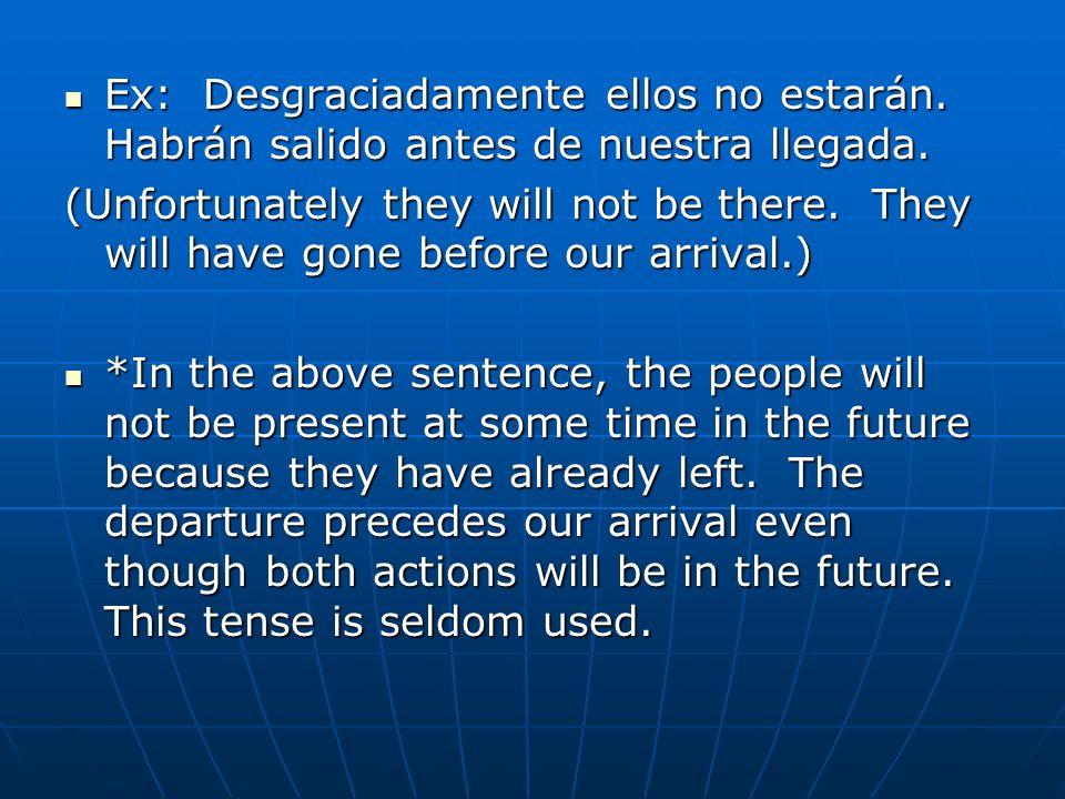 Ex: Desgraciadamente ellos no estarán. Habrán salido antes de nuestra llegada. Ex: Desgraciadamente ellos no estarán. Habrán salido antes de nuestra l