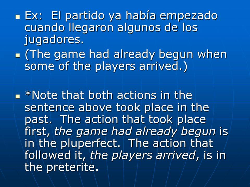 Ex: El partido ya había empezado cuando llegaron algunos de los jugadores. Ex: El partido ya había empezado cuando llegaron algunos de los jugadores.